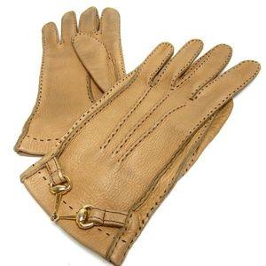 Vintage Rare GUCCI Hosebit gloves Leather gold